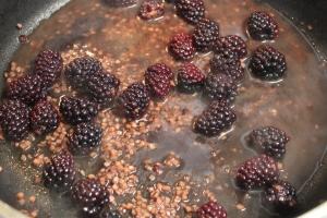 Blackberries, garlic, red wine, and beef stock