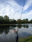 Landing a fish tenkara style
